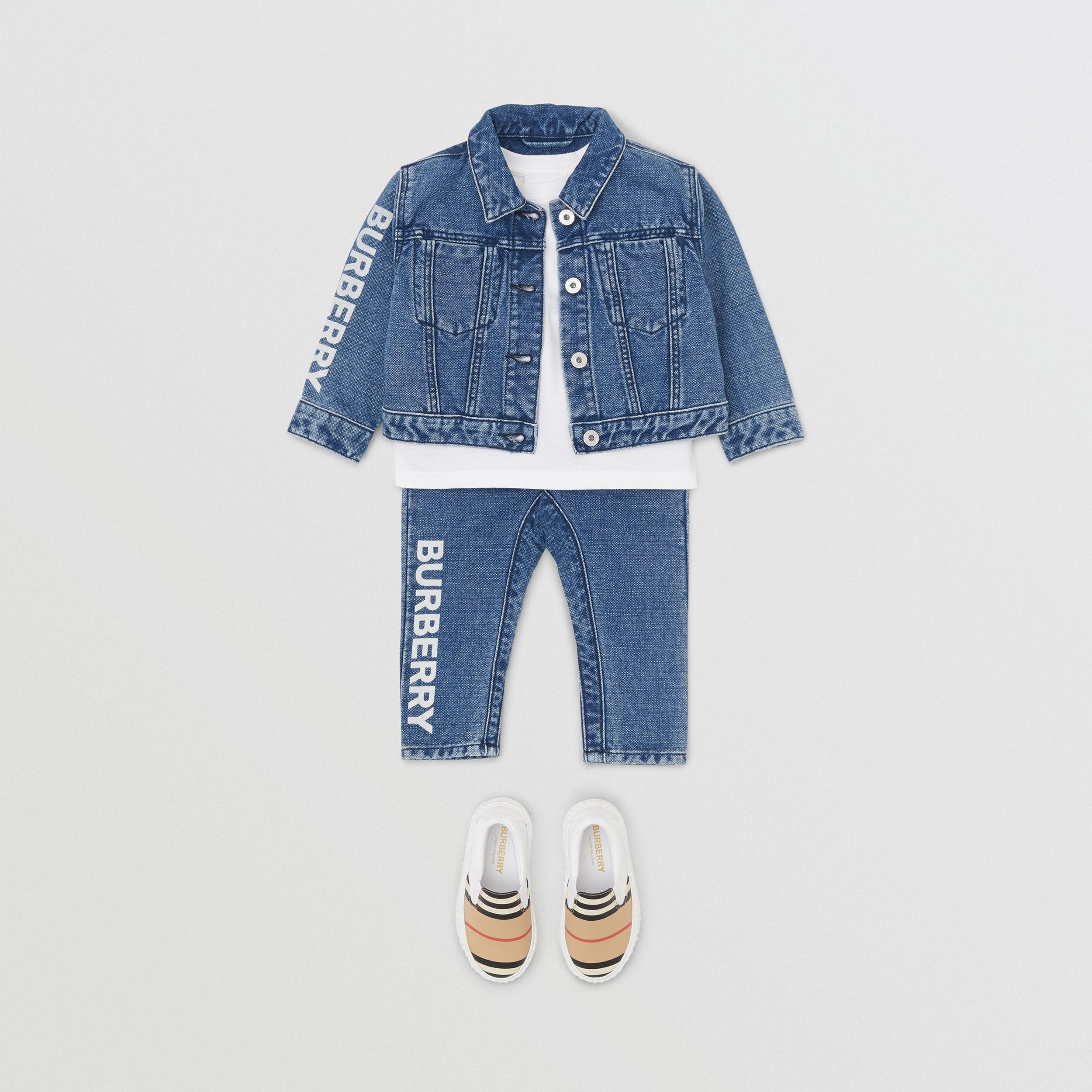 Logo Print Japanese Denim Jeans in Indigo - Children | Burberry - 3