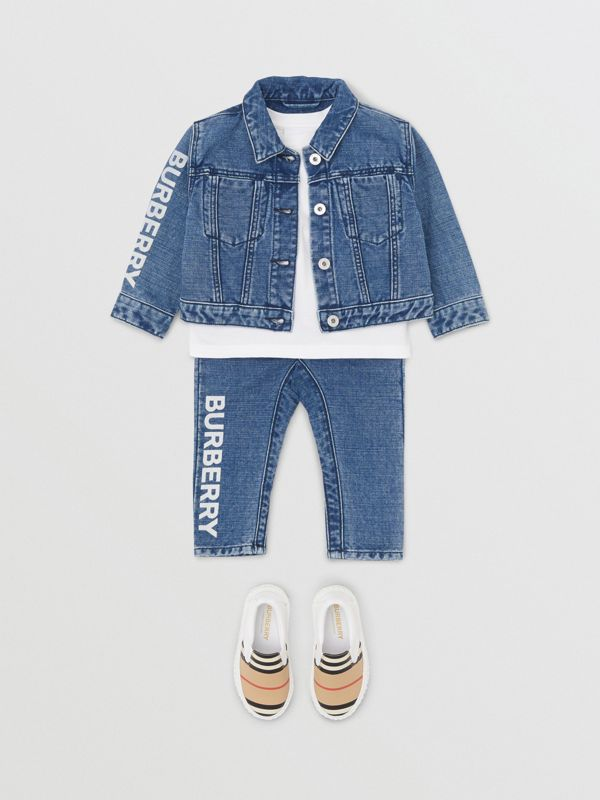 Logo Print Japanese Denim Jeans in Indigo - Children | Burberry - cell image 2