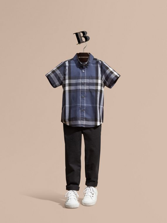 Short-sleeve Check Cotton Twill Shirt Thistle Blue