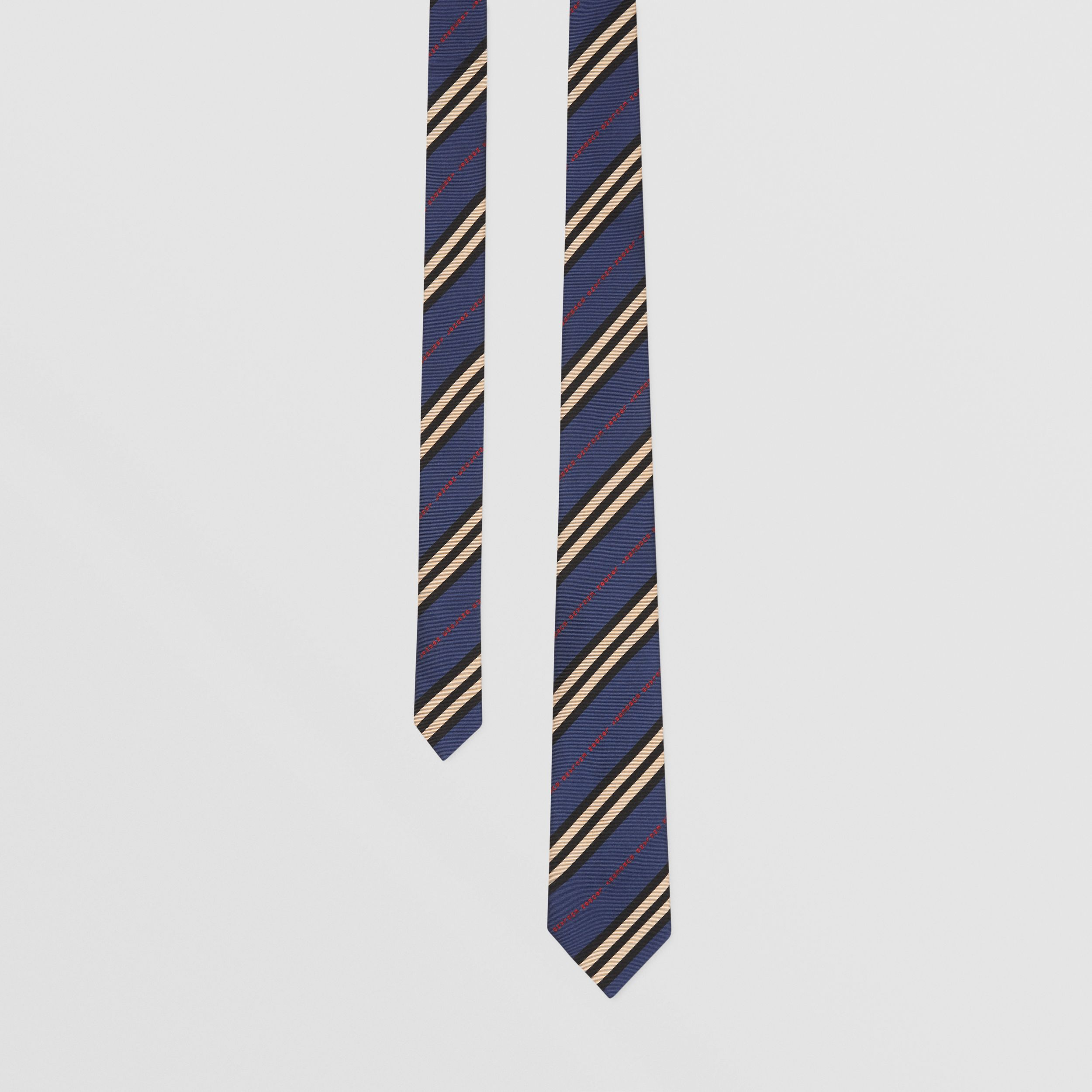 Classic Cut Logo and Stripe Silk Jacquard Tie in Bright Navy - Men | Burberry - 1