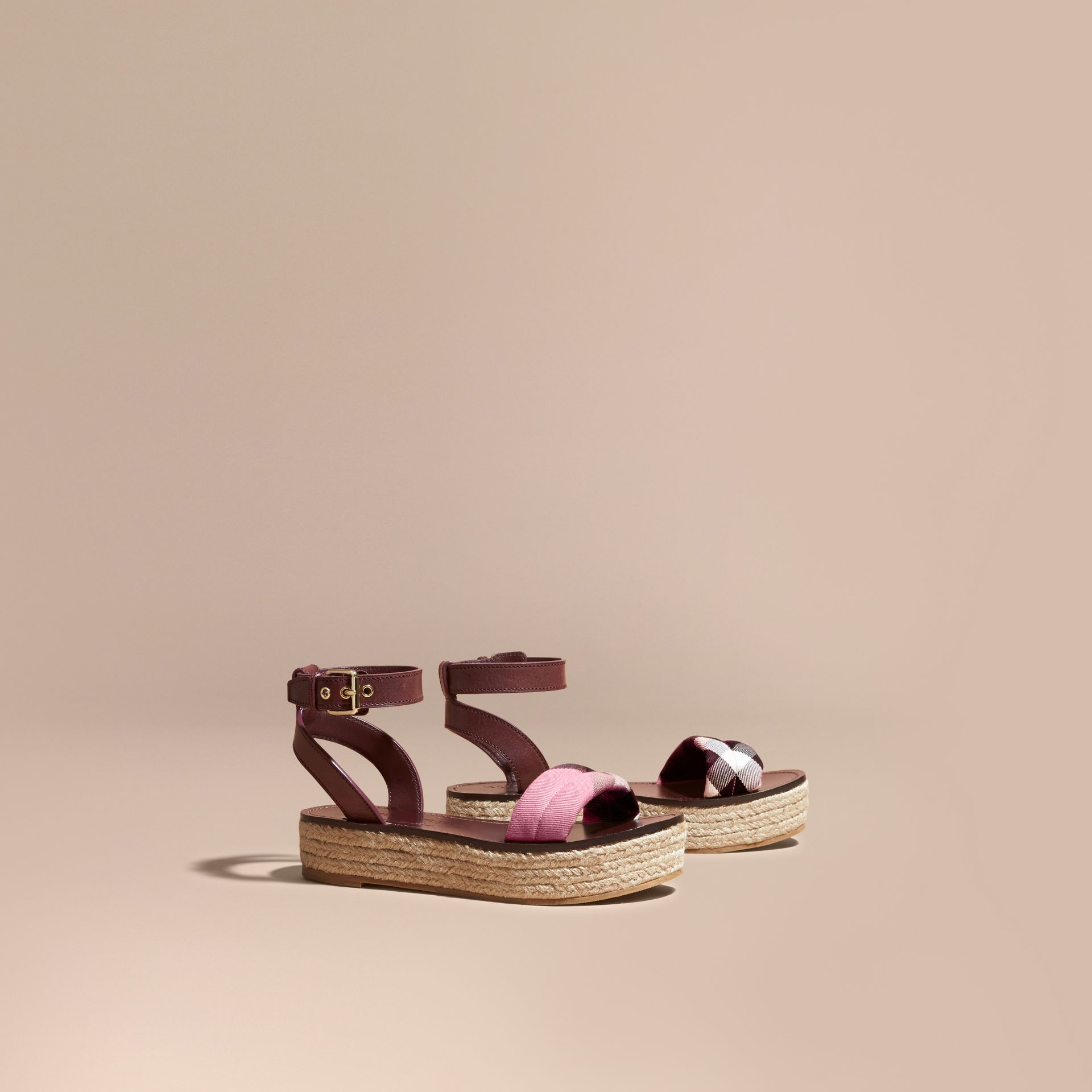 Leather and House Check Espadrille Platform Sandals in Cerise Purple - gallery image 1
