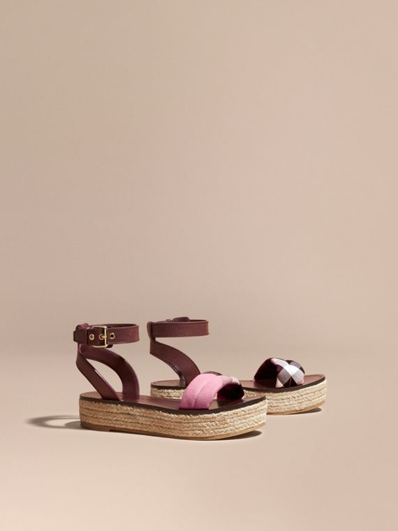 Leather and House Check Espadrille Platform Sandals in Cerise Purple