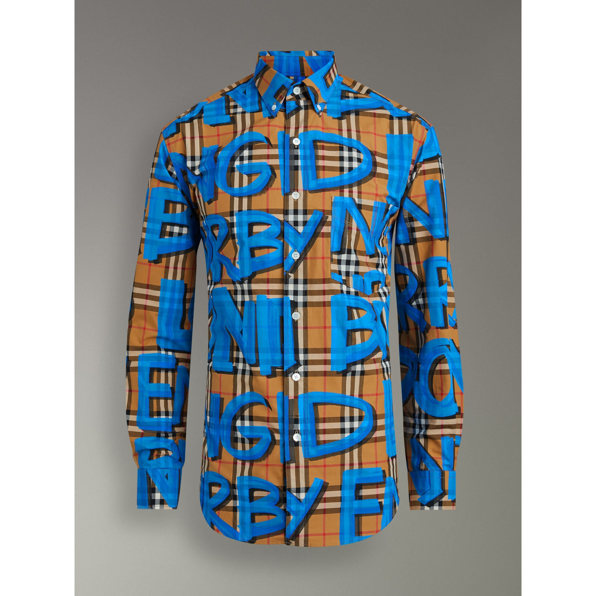 Graffiti Print Vintage Check Shirt in Bright Blue - Men | Burberry Australia - gallery image 3