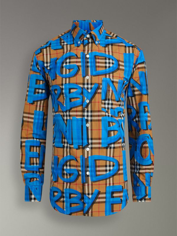 Graffiti Print Vintage Check Shirt in Bright Blue - Men | Burberry Singapore - cell image 3