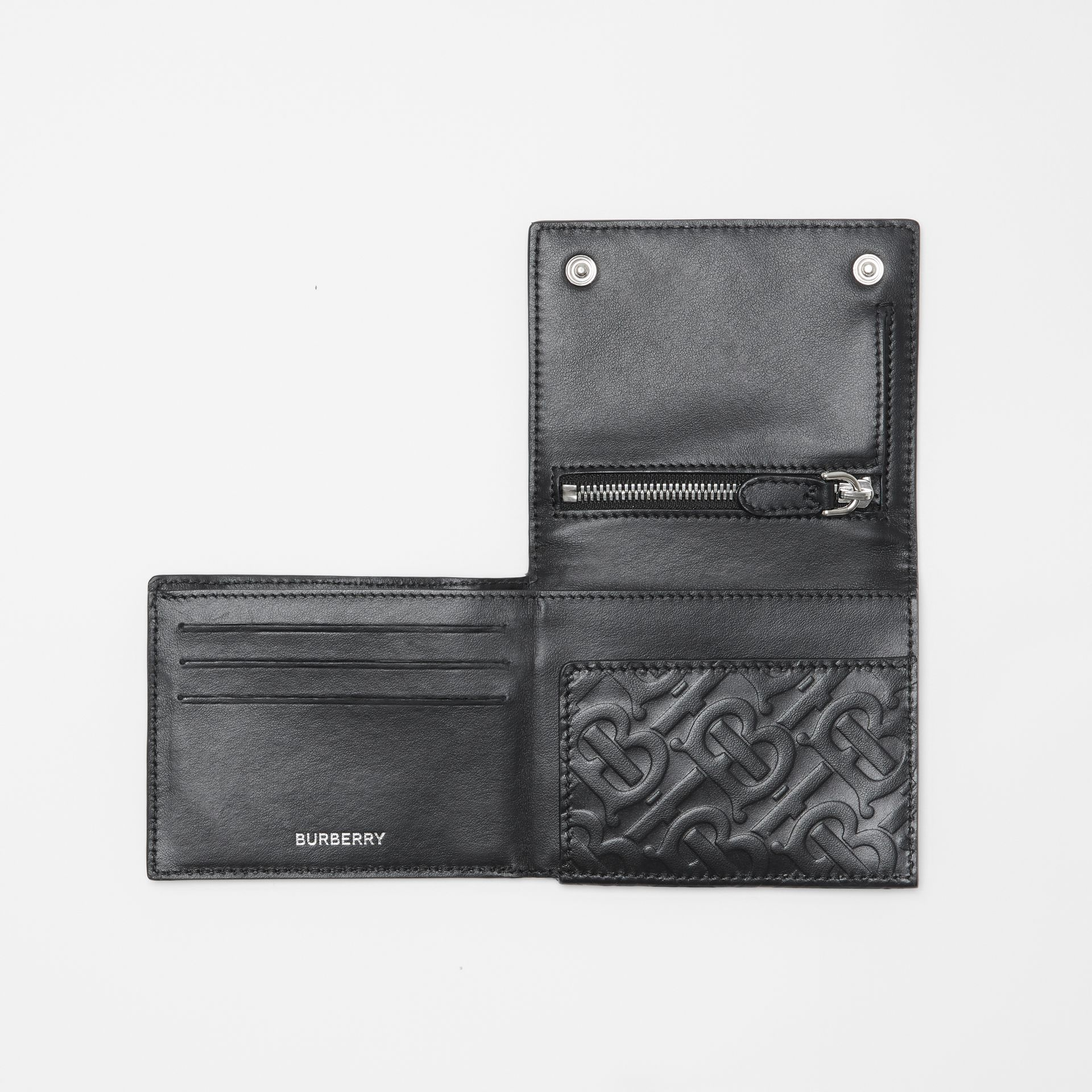 Monogram Embossed Leather Trifold Wallet in Black | Burberry - gallery image 2