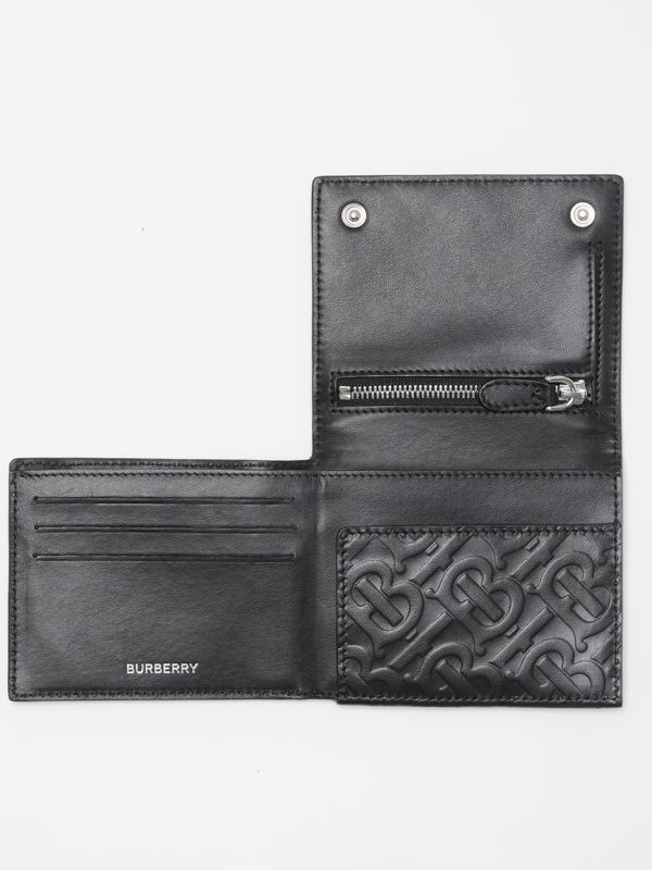 Monogram Embossed Leather Trifold Wallet in Black - Men | Burberry Australia - cell image 2