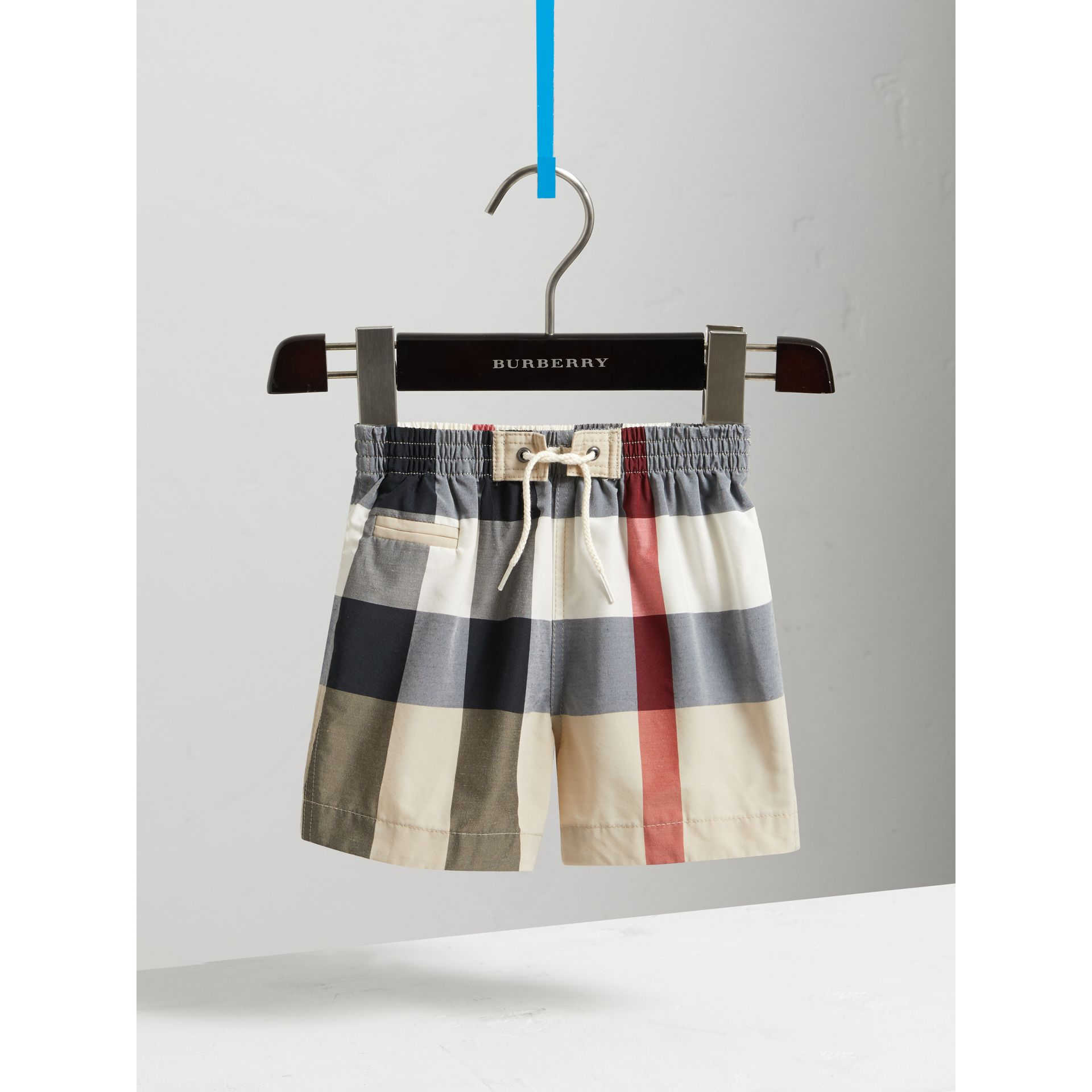 Check Technical Cotton Swim Shorts in New Classic | Burberry - gallery image 2