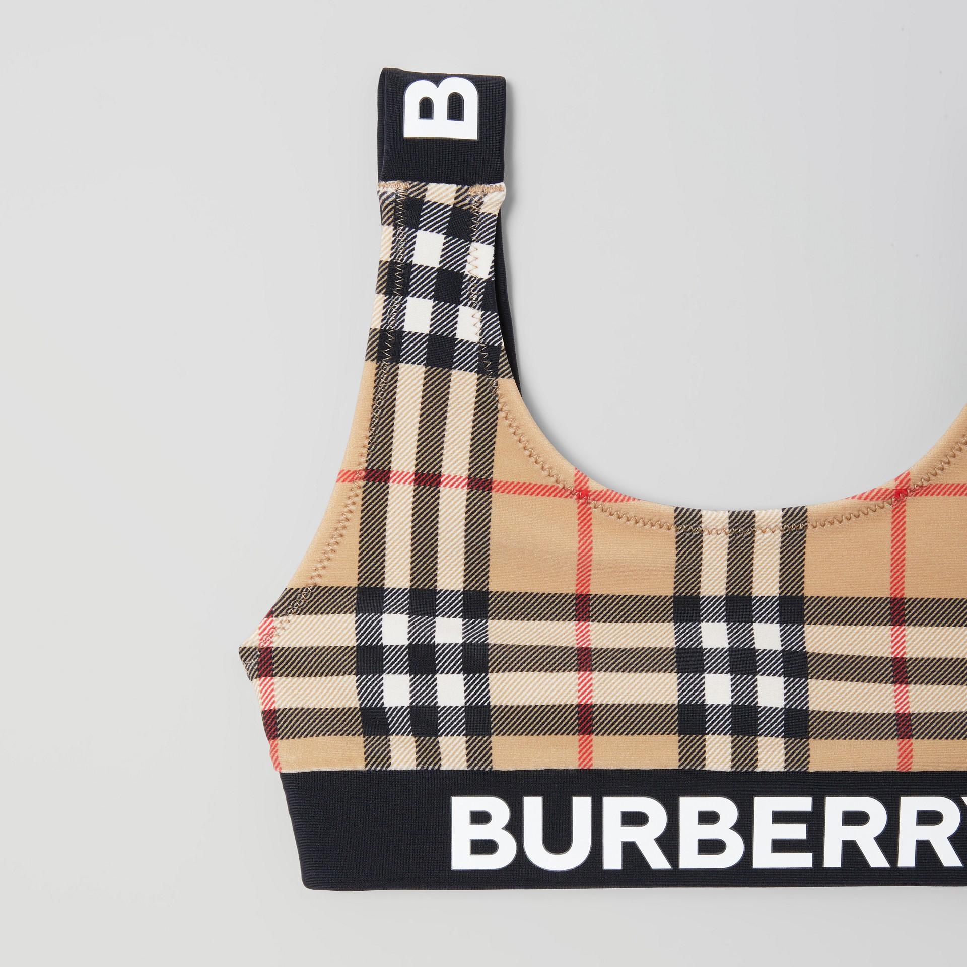 Logo Print Vintage Check Bikini in Archive Beige | Burberry - gallery image 3