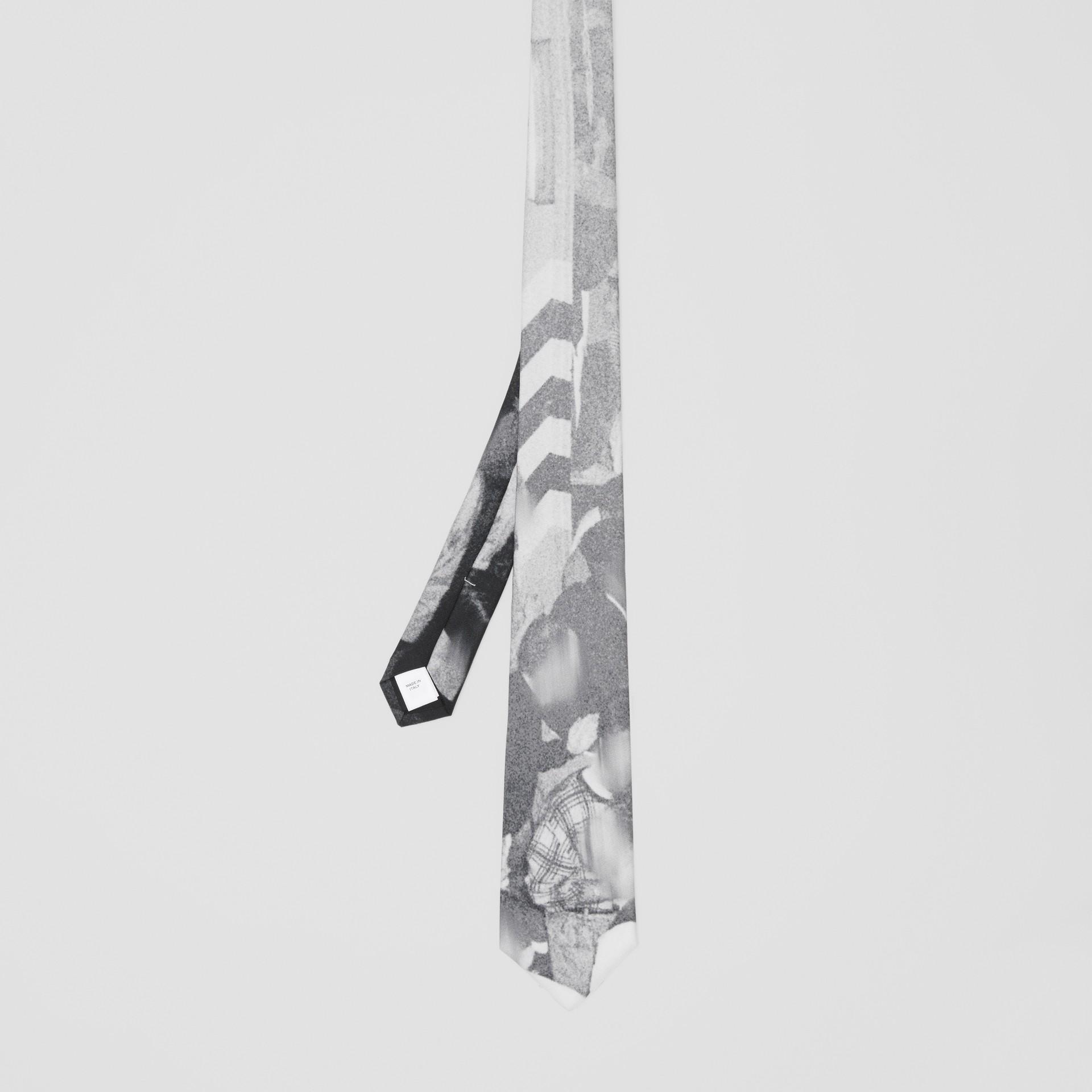 Classic Cut Rave Print Silk Tie in Monochrome - Men | Burberry Australia - gallery image 4
