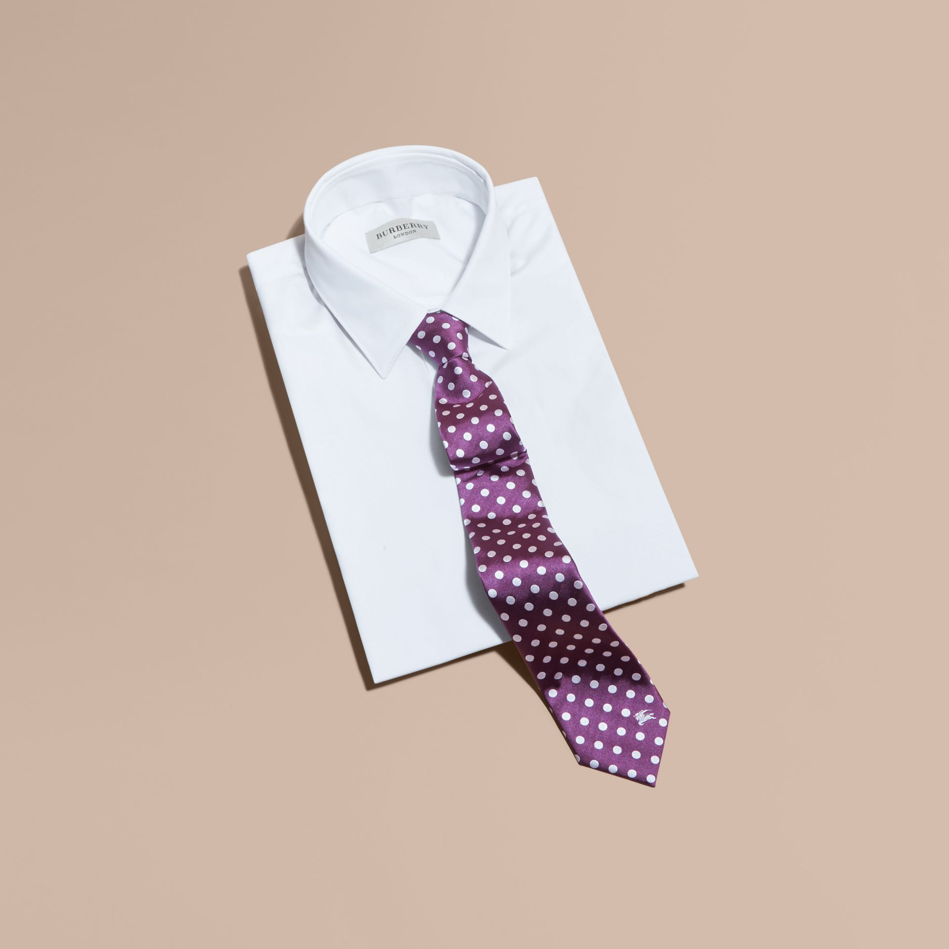 Modern Cut Polka-dot Silk Jacquard Tie in Purple Black - Men | Burberry - gallery image 4