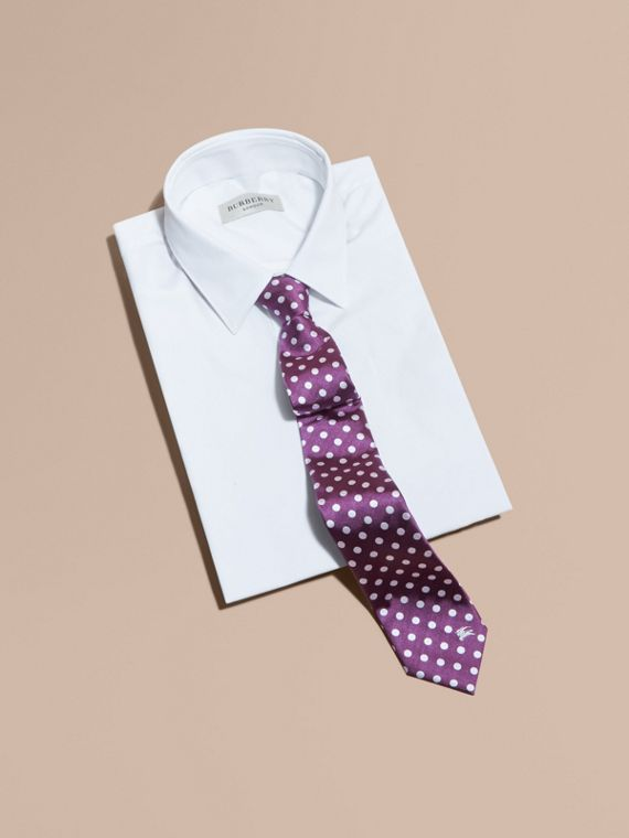 Modern Cut Polka-dot Silk Jacquard Tie in Purple Black - Men | Burberry - cell image 3