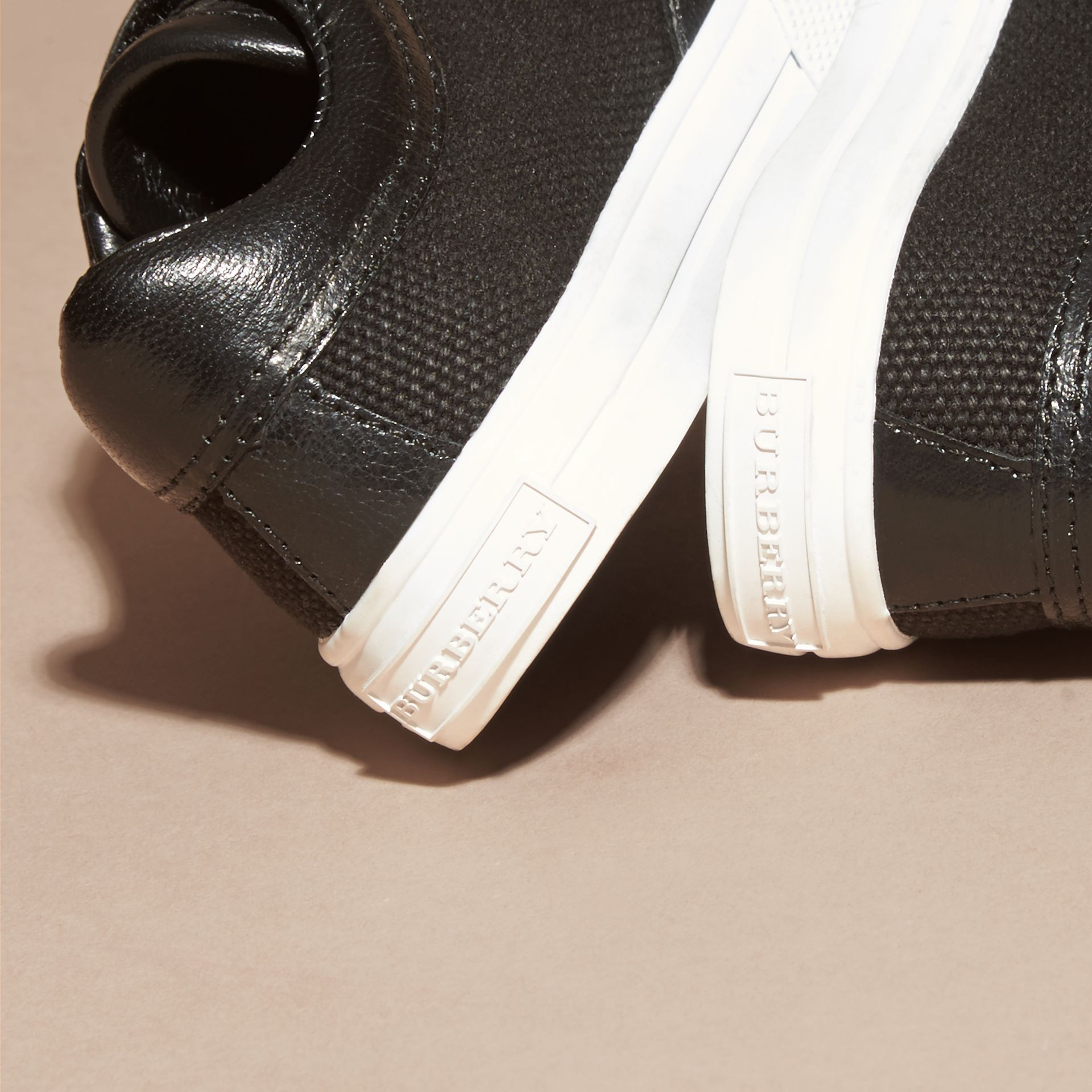 Leather and Canvas Trainers in Black | Burberry - gallery image 4