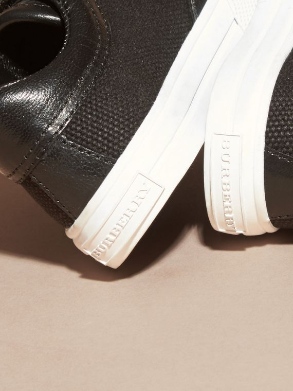 Leather and Canvas Trainers in Black | Burberry Singapore - cell image 3