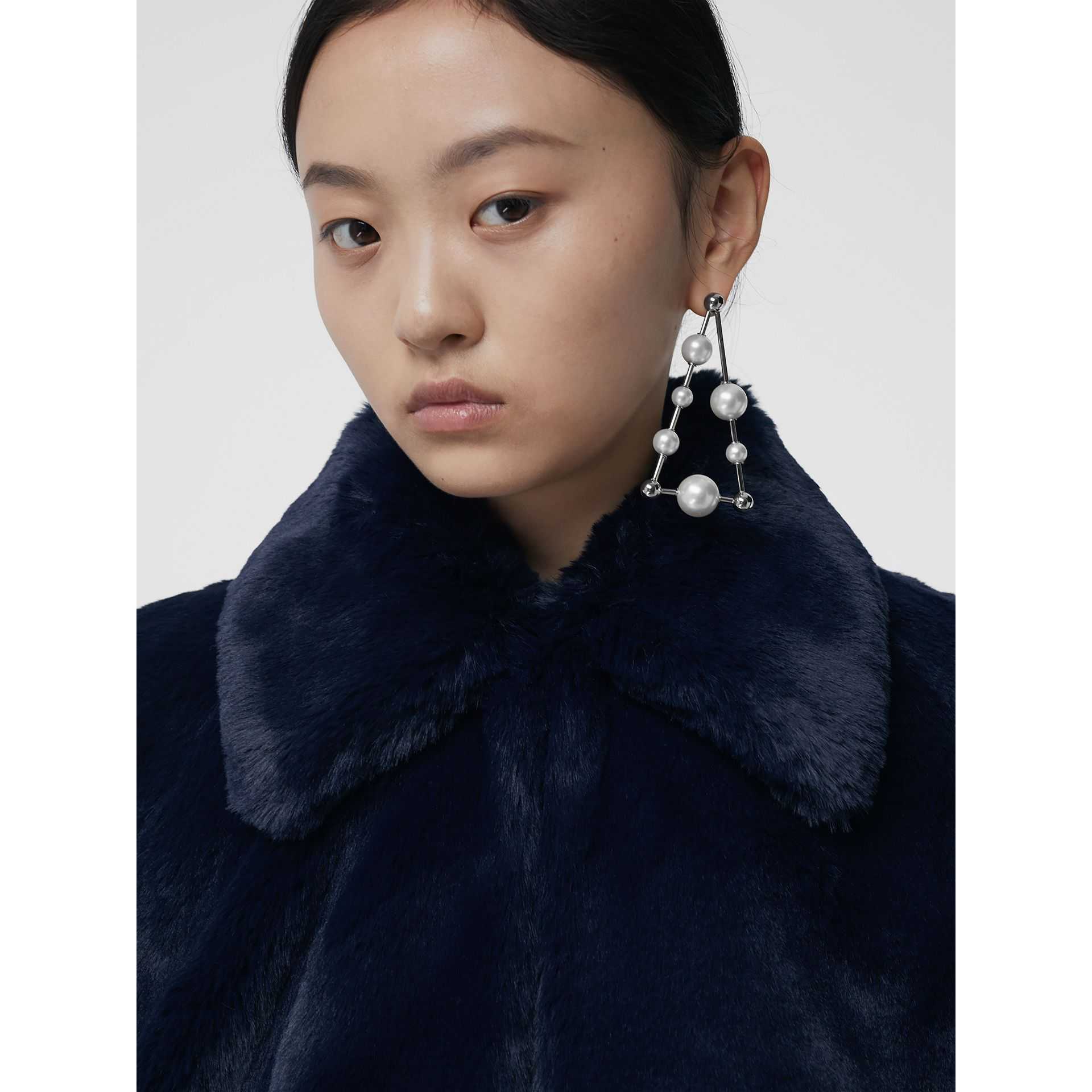 Faux Fur Cape in Navy - Women | Burberry Singapore - gallery image 1