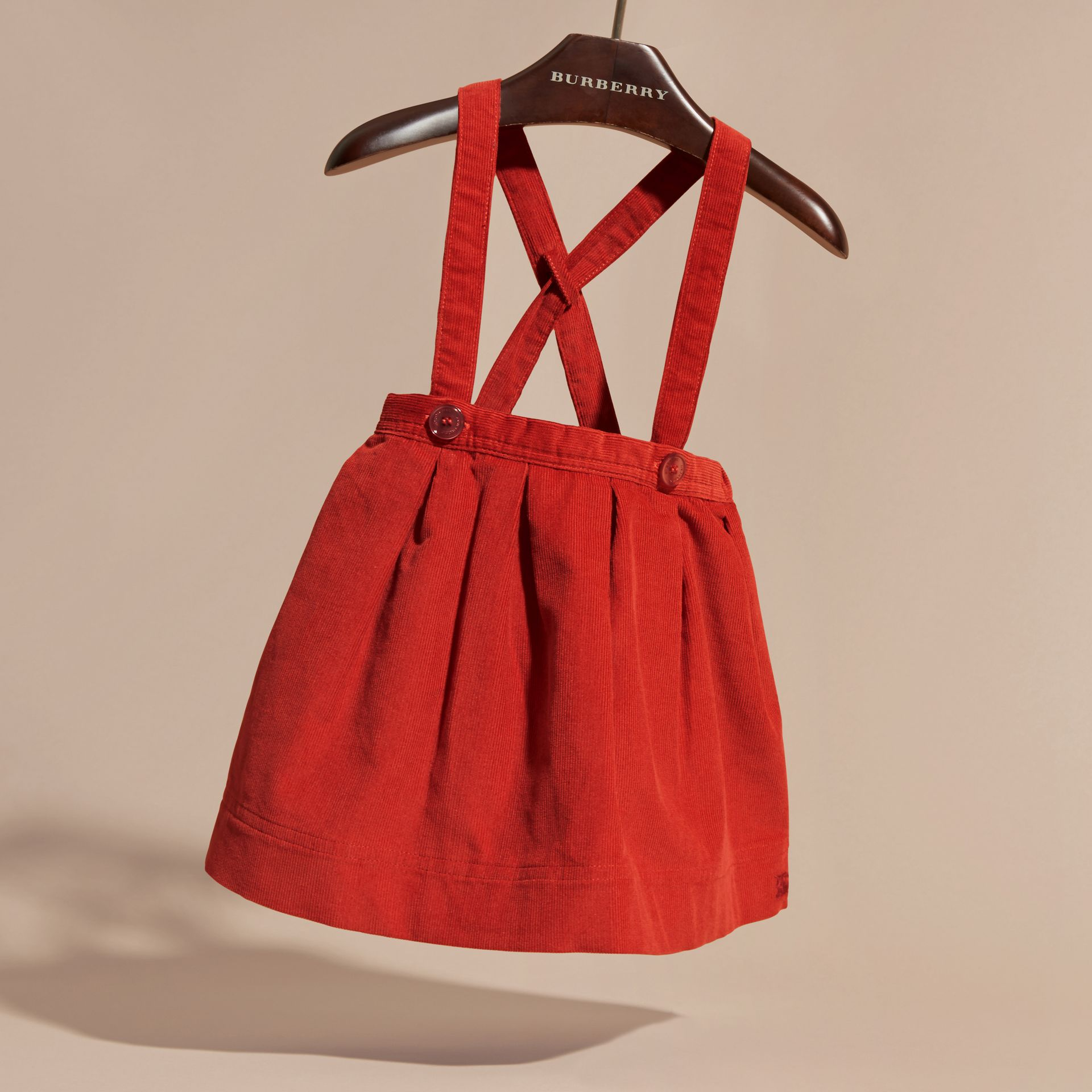 Orange red Cotton Corduroy Skirt with Straps Orange Red - gallery image 3