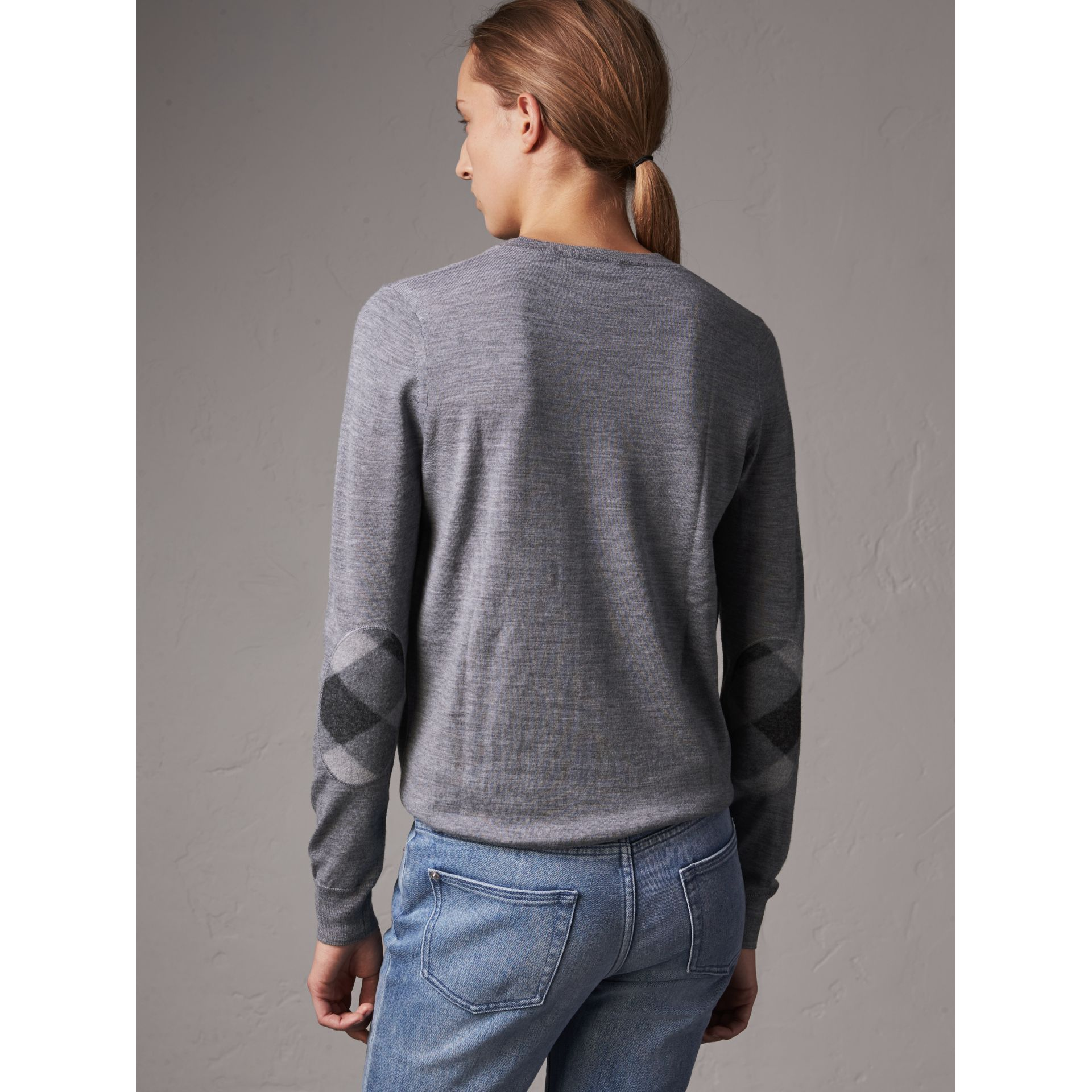Check Detail Merino Wool Crew Neck Sweater in Mid Grey Melange - Women | Burberry Singapore - gallery image 2