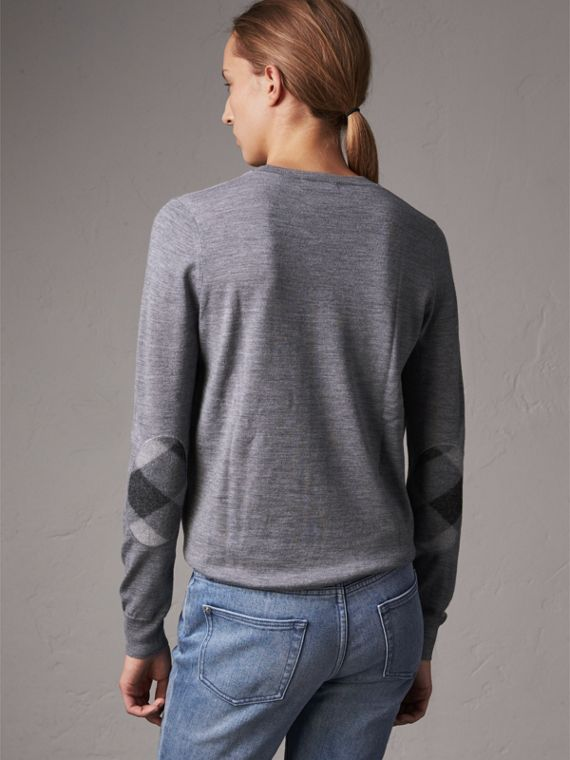 Check Detail Merino Wool Crew Neck Sweater in Mid Grey Melange - Women | Burberry - cell image 2