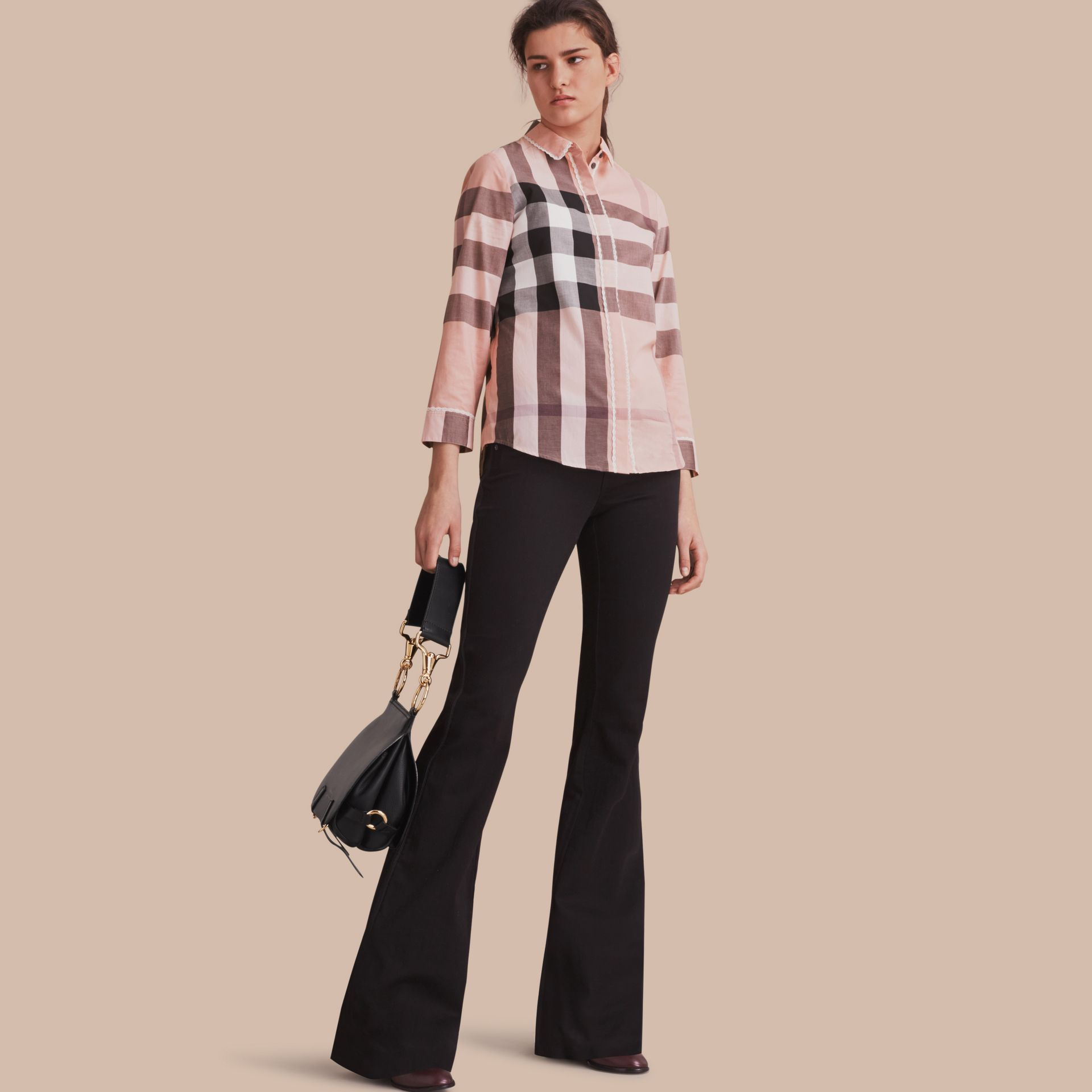 Lace Trim Check Cotton Shirt Antique Pink - gallery image 1