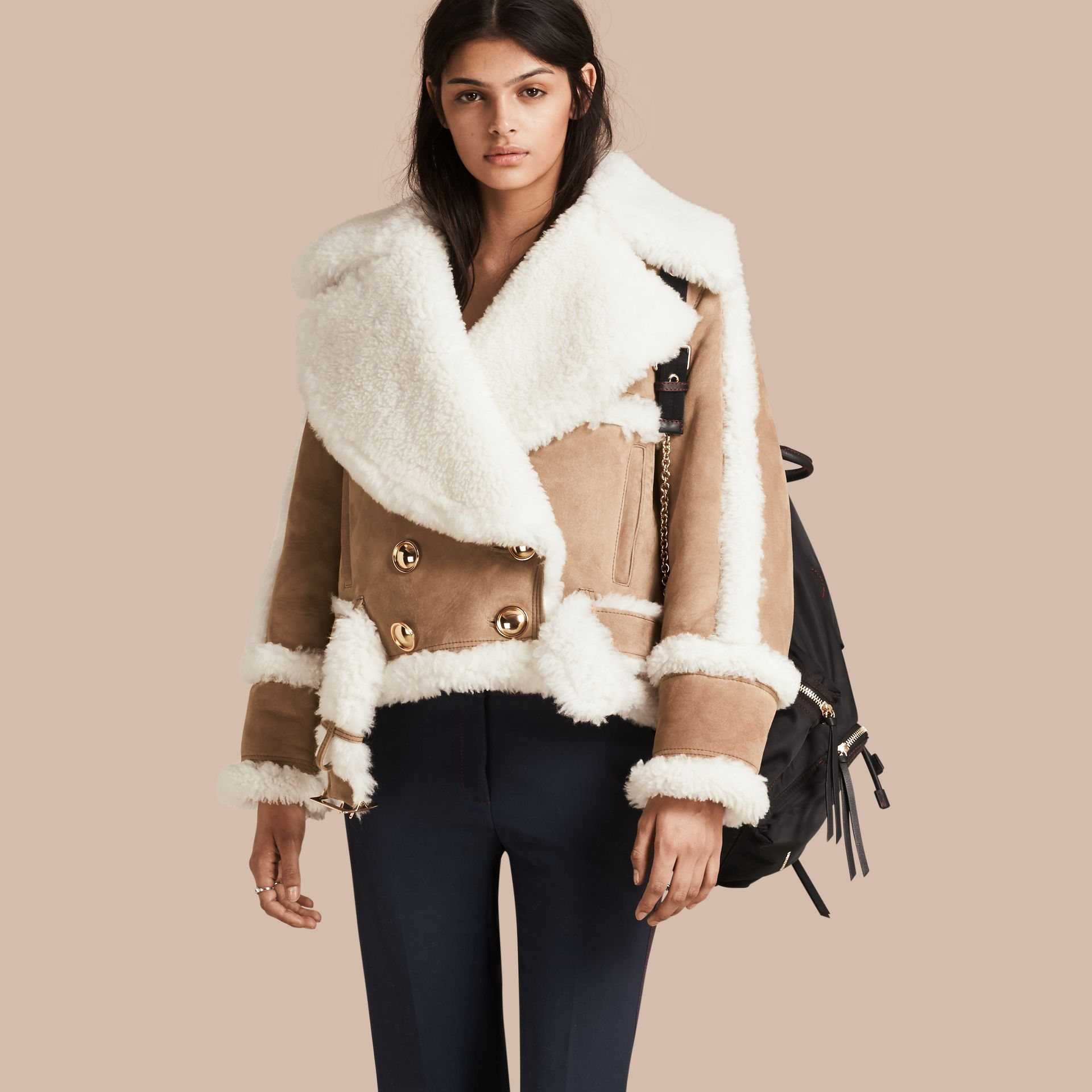Camel Cropped Suede and Shearling Aviator Jacket - gallery image 1