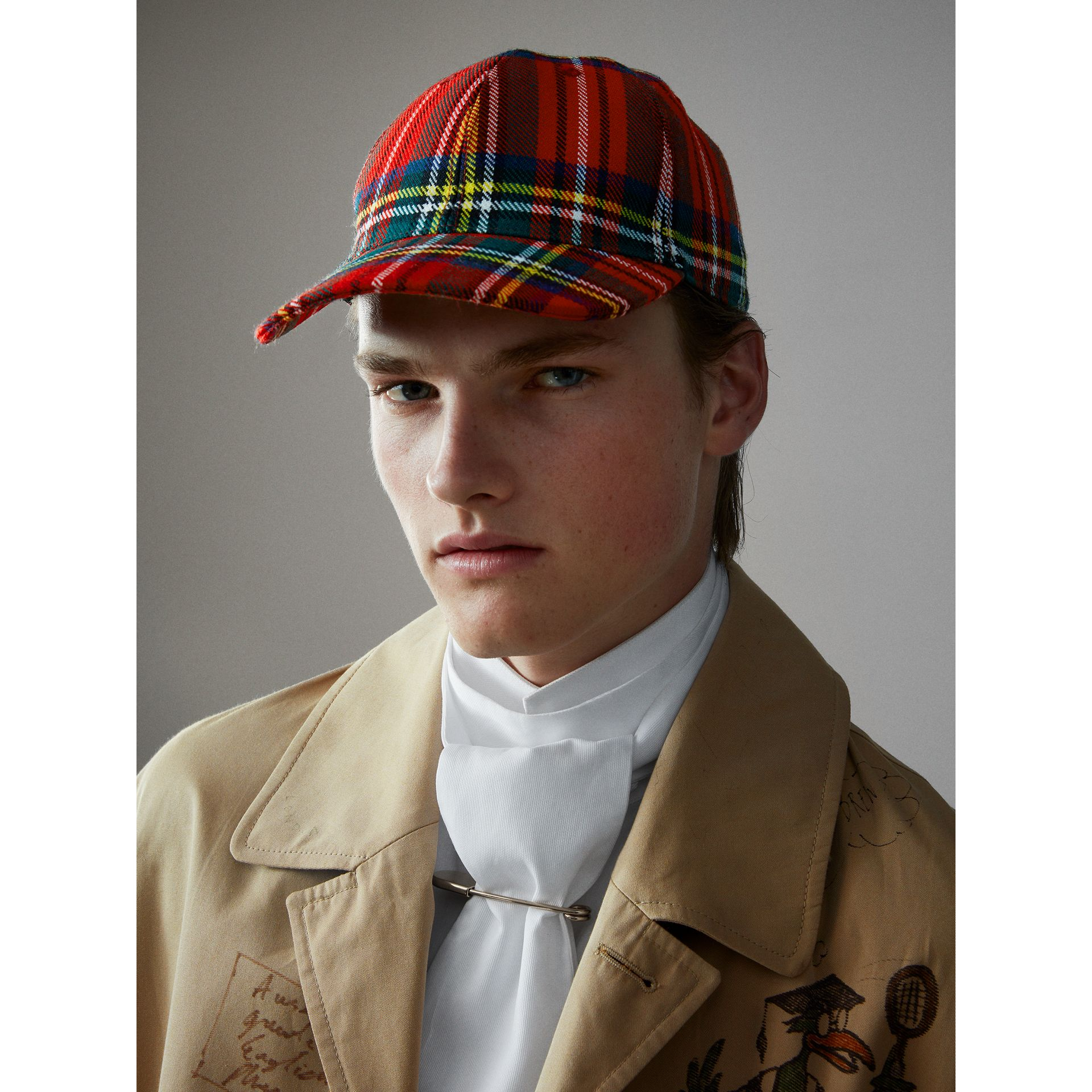 Tartan Baseball Cap in Bright Red | Burberry - gallery image 4