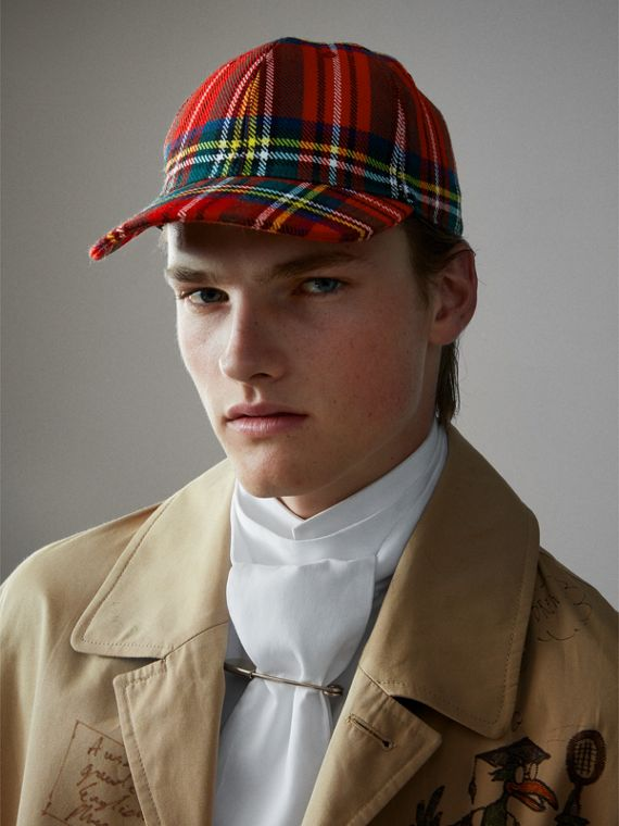 Tartan Baseball Cap in Bright Red | Burberry - cell image 3