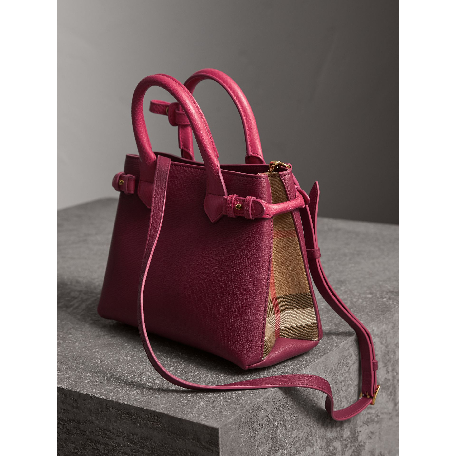 The Small Banner in Two-tone Leather in Berry Pink - Women | Burberry - gallery image 5