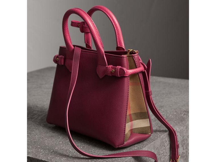 The Small Banner in Two-tone Leather in Berry Pink - Women | Burberry - cell image 4