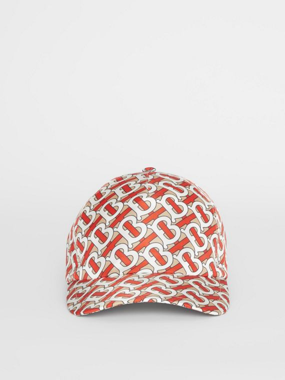 Monogram Print Baseball Cap in Vermillion