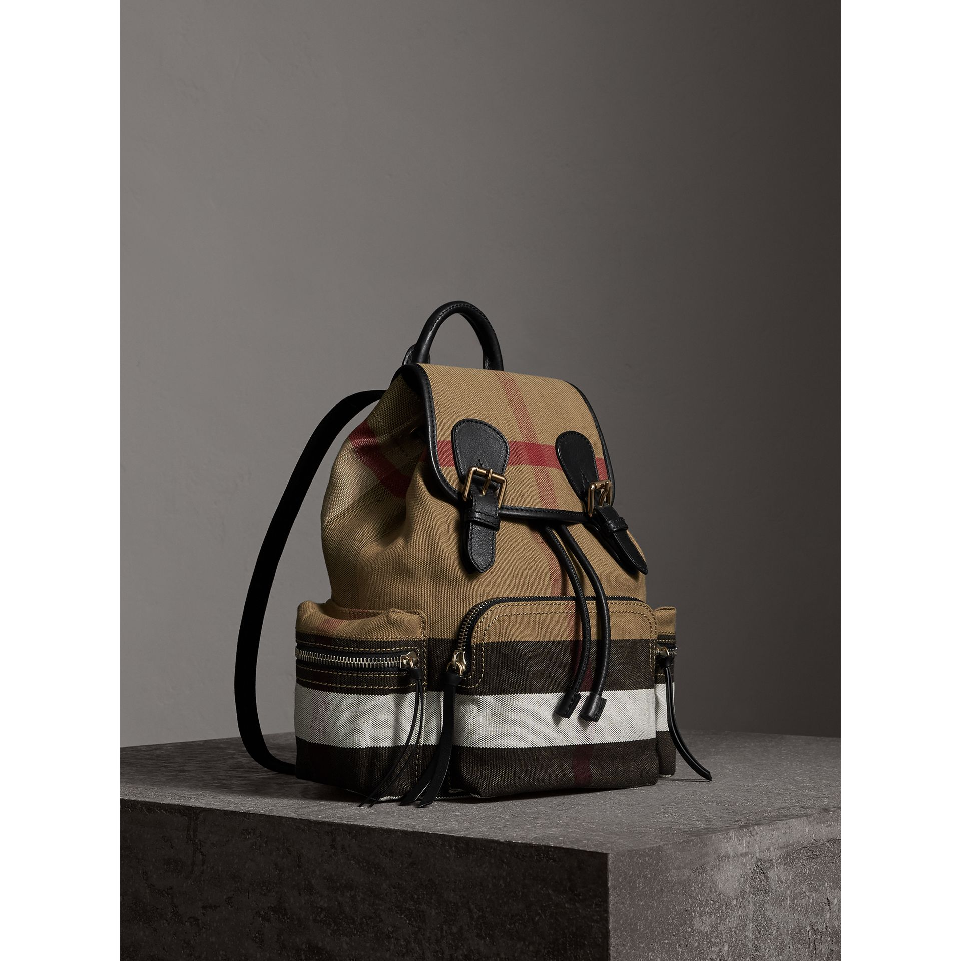 The Medium Rucksack in Canvas Check and Leather in Black - Women | Burberry - gallery image 1