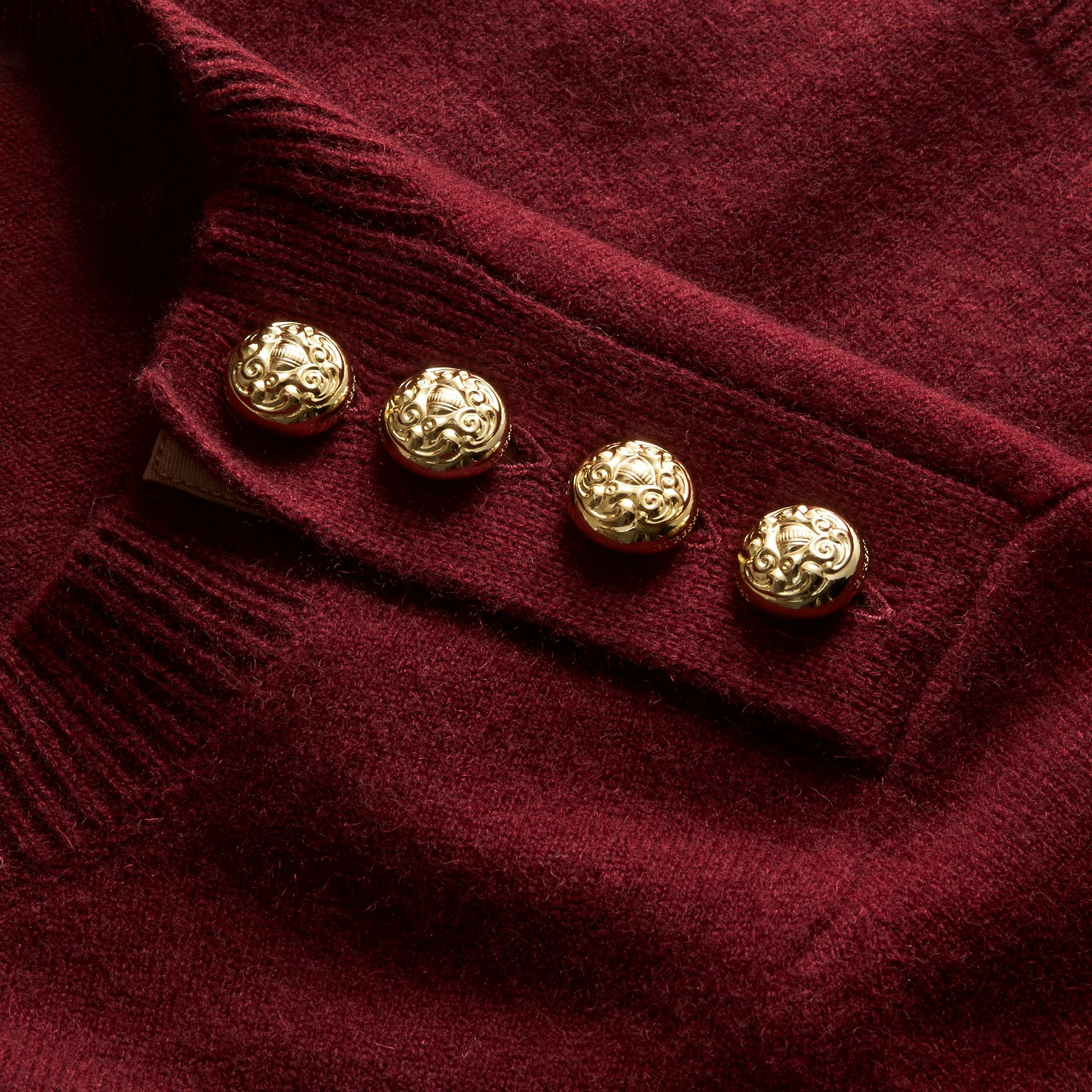 Cashmere Sweater with Crested Buttons in Mahogany Red - gallery image 2