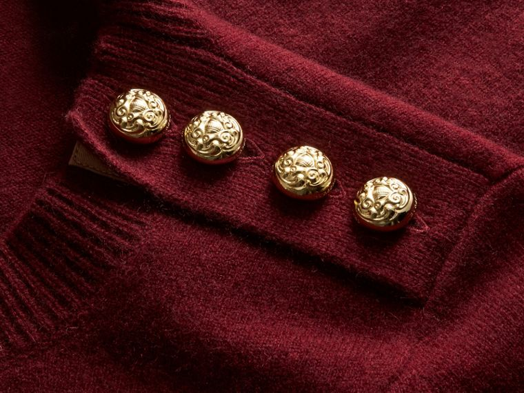 Cashmere Sweater with Crested Buttons in Mahogany Red - cell image 1