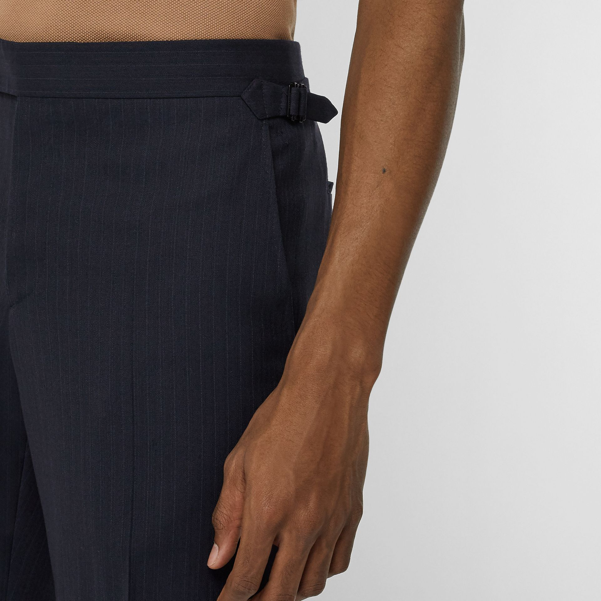 Classic Fit Pinstriped Wool Tailored Trousers in Navy Stripe - Men | Burberry United Kingdom - gallery image 1