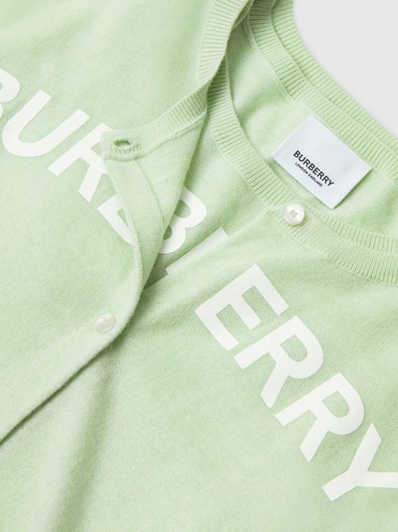 Logo Print Cashmere Two-piece Set in Pistachio | Burberry Hong Kong - cell image 1