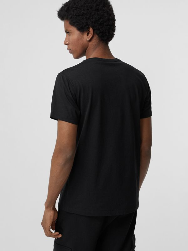 Collage Logo Print Cotton T-shirt in Black - Men | Burberry Singapore - cell image 2
