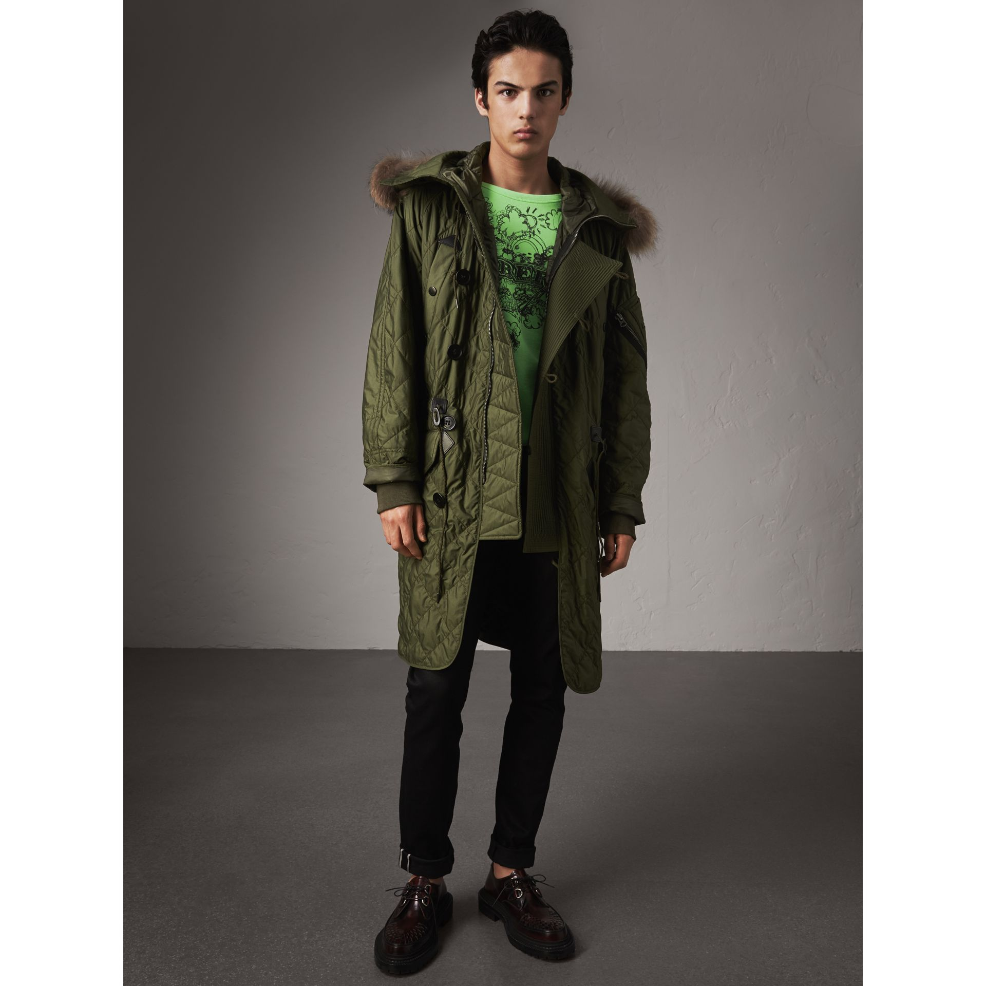 Detachable Fur Trim Hooded Diamond Quilted Parka in Olive - Men | Burberry - gallery image 4