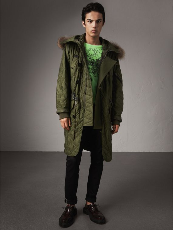 Detachable Fur Trim Hooded Diamond Quilted Parka in Olive