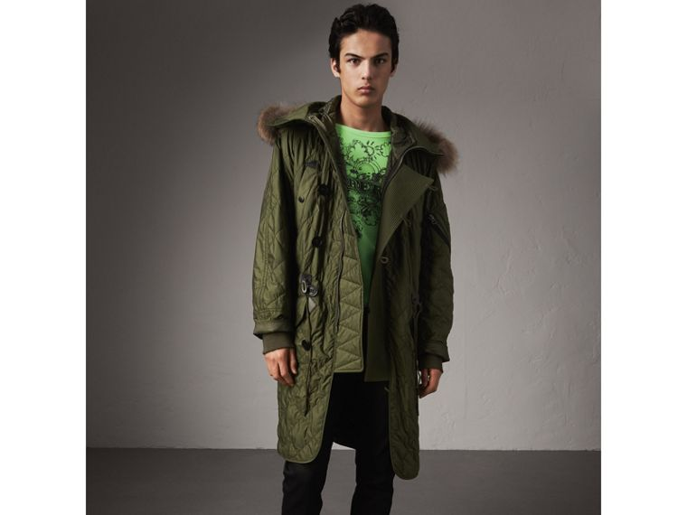 Detachable Fur Trim Hooded Diamond Quilted Parka in Olive - Men | Burberry - cell image 4