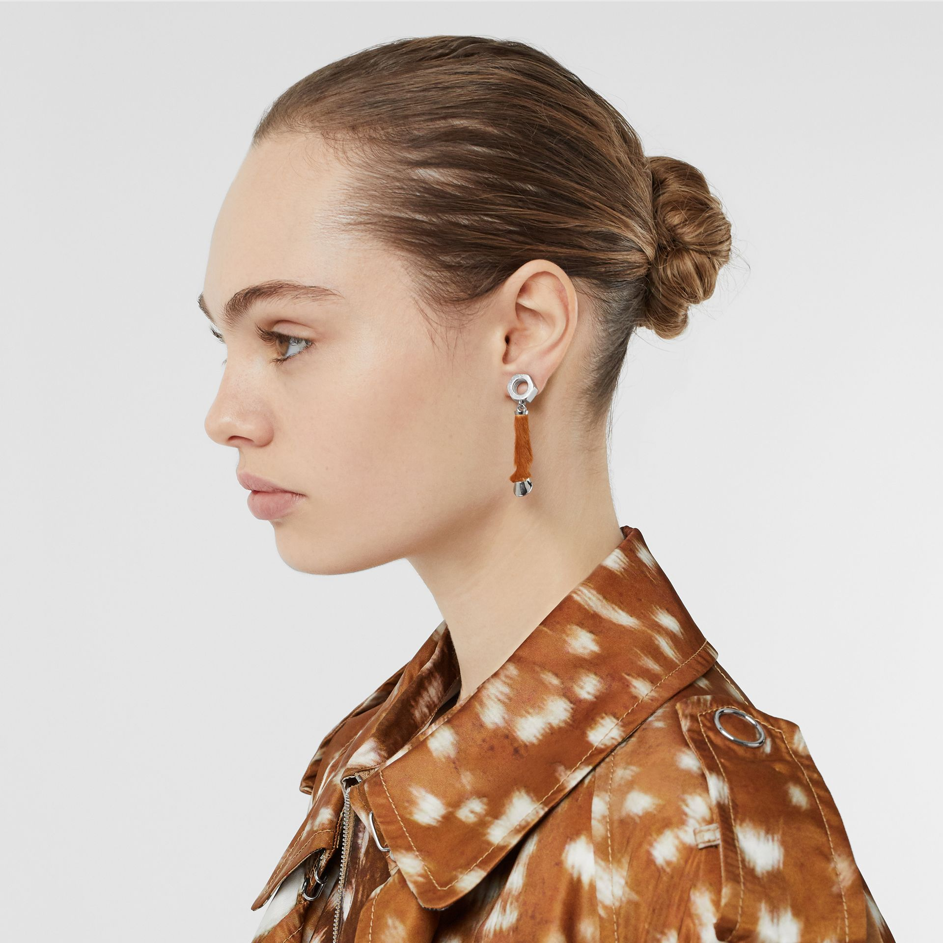 Calf Hair and Palladium-Plated Hoof Drop Earrings in Palladium/camel - Women | Burberry United States - gallery image 2