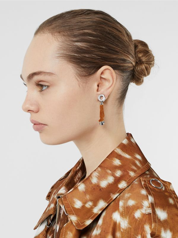 Calf Hair and Palladium-Plated Hoof Drop Earrings in Palladium/camel - Women | Burberry - cell image 2