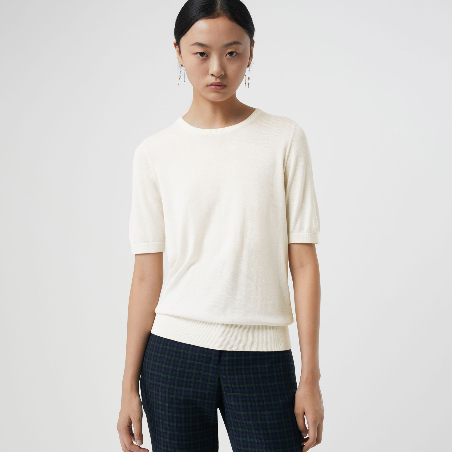 Short-sleeve Silk Cashmere Sweater in Natural White - Women | Burberry Australia - gallery image 0