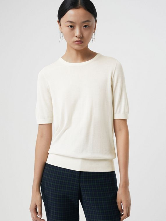 Short-sleeve Silk Cashmere Sweater in Natural White