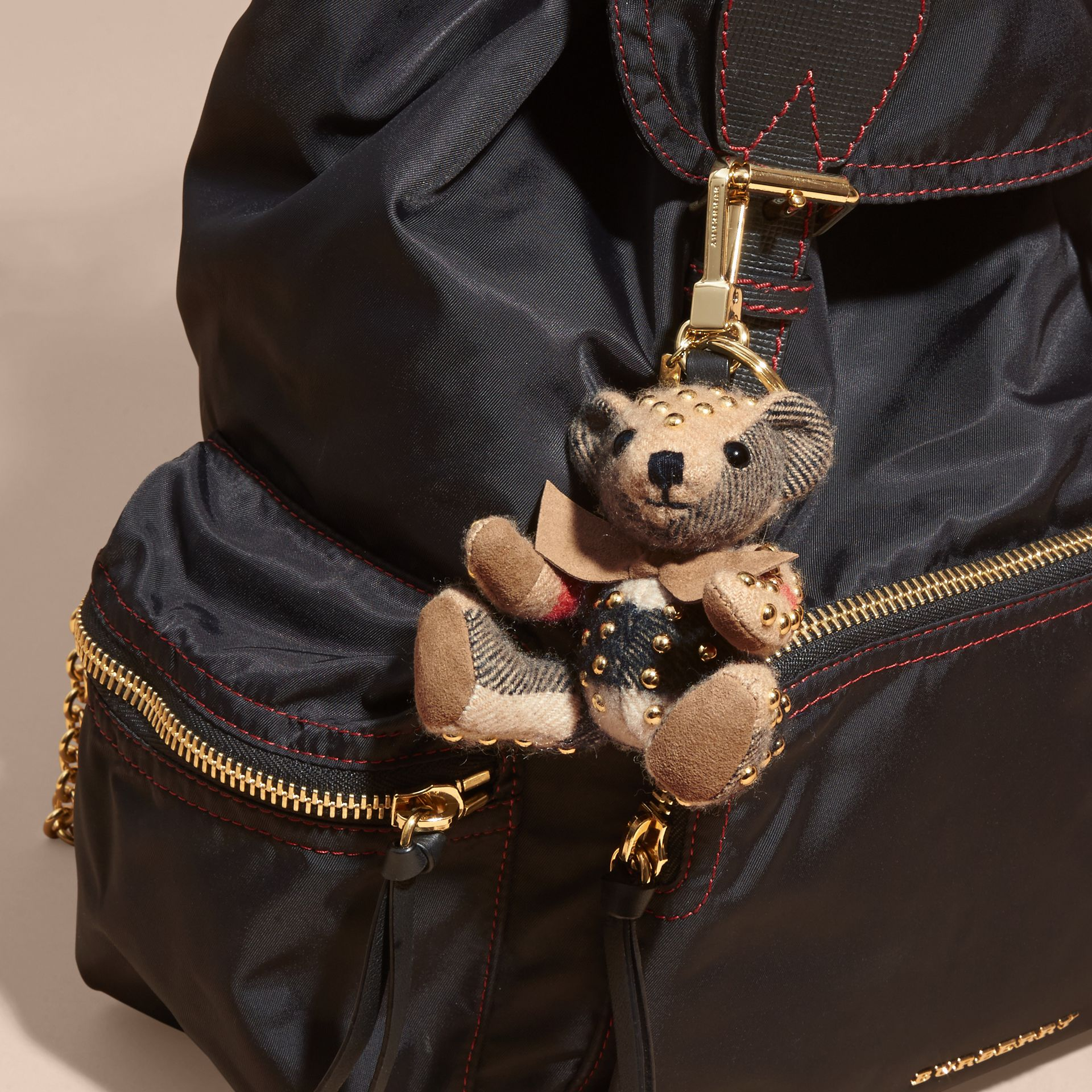 Camel Thomas Bear Charm in Riveted Check Cashmere - gallery image 3