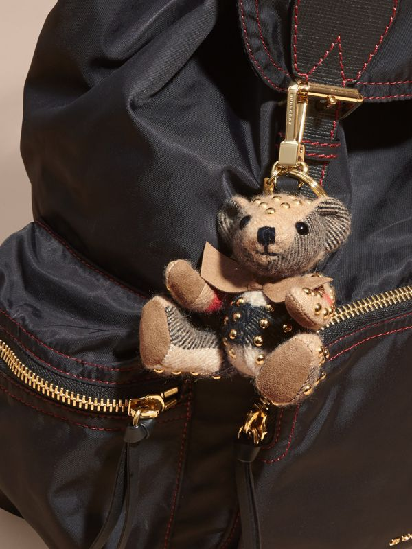 Thomas Bear Charm in Riveted Check Cashmere in Camel - Women | Burberry United Kingdom - cell image 2