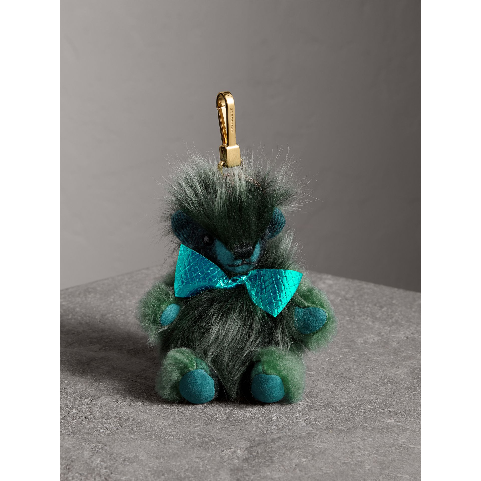Thomas Bear Pom-Pom Charm in Check Cashmere in Dark Aqua - Women | Burberry United States - gallery image 0