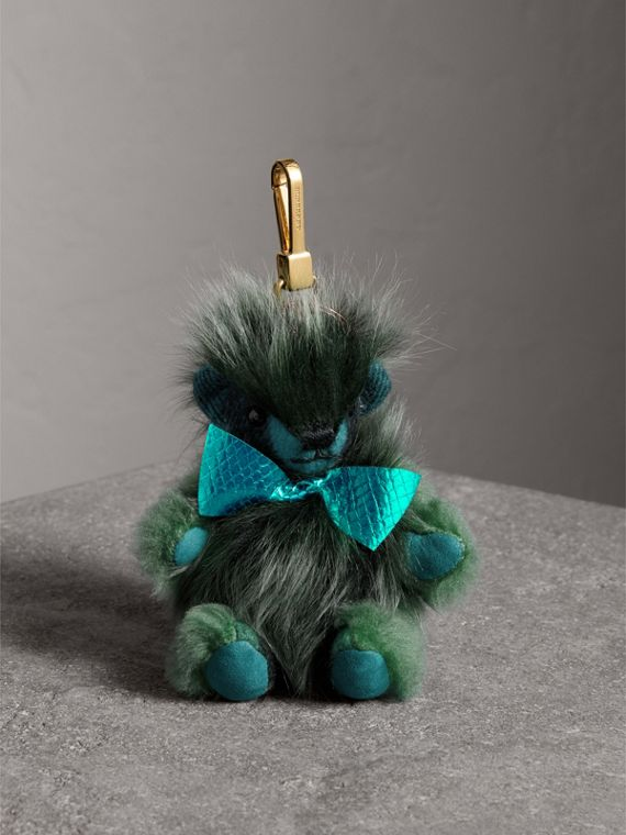 Thomas Bear Pom-Pom Charm in Check Cashmere in Dark Aqua