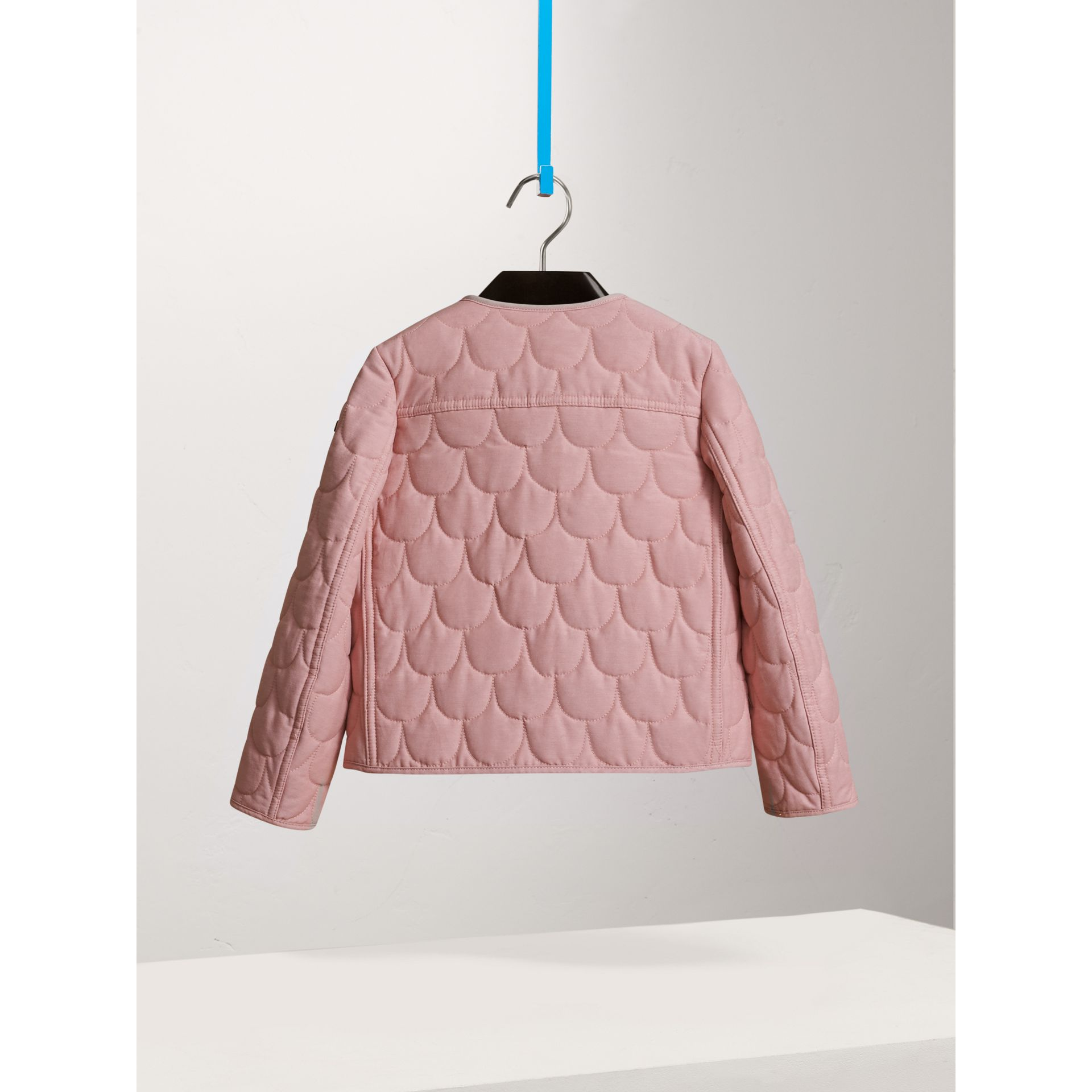 Collarless Scallop-quilted Jacket in Pale Rose - Girl | Burberry - gallery image 3