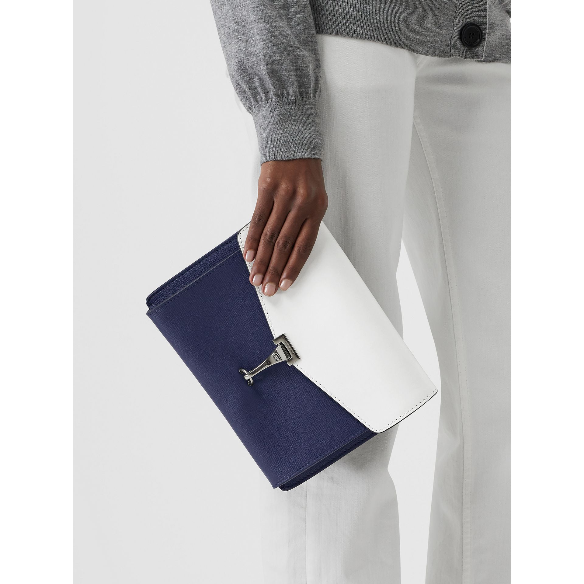 Two-tone Leather Crossbody Bag in Regency Blue/chalk White - Women | Burberry Canada - gallery image 3