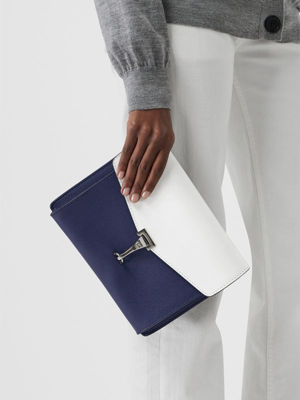 Two-tone Leather Crossbody Bag in Regency Blue/chalk White - Women | Burberry Hong Kong - cell image 3