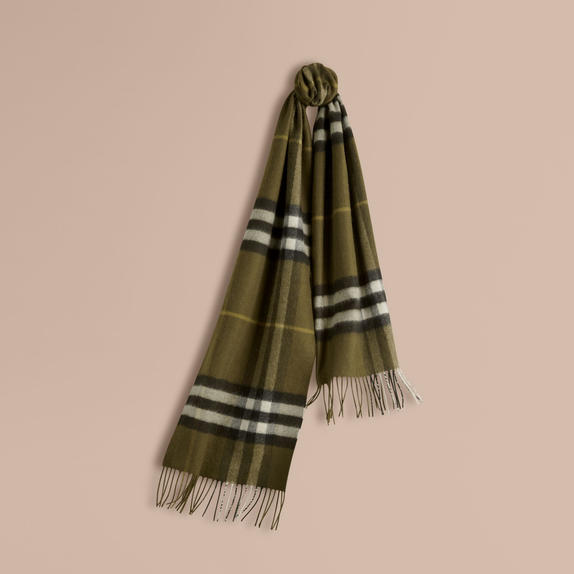 The Classic Cashmere Scarf in Check Olive Green - gallery image 6