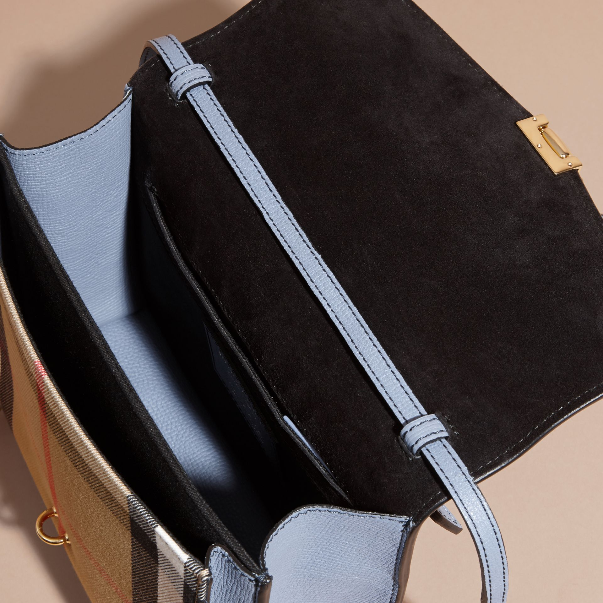 Small Leather and House Check Crossbody Bag in Slate Blue - gallery image 6